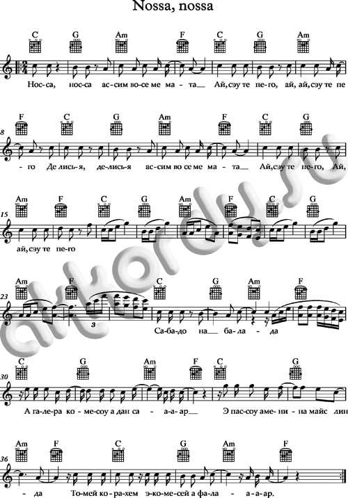 Ноты и аккорды к  песне «Носа, носа»