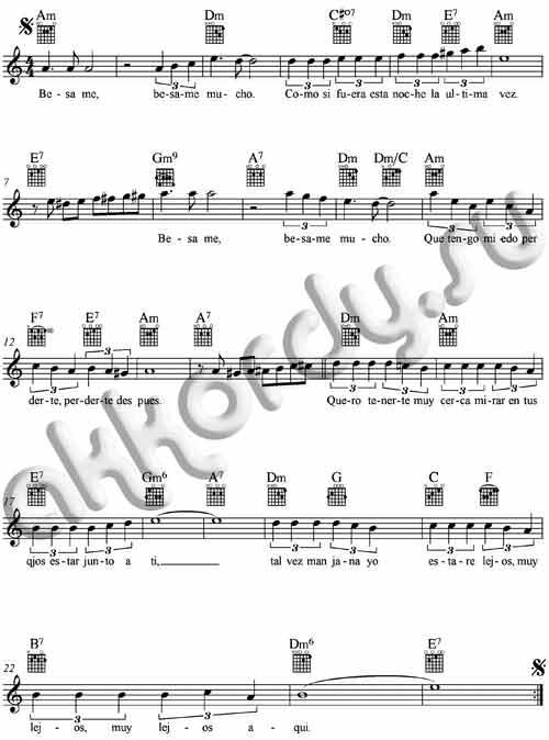 Ноты с аккордами к песне Besame mucho (Бесаме мучо)