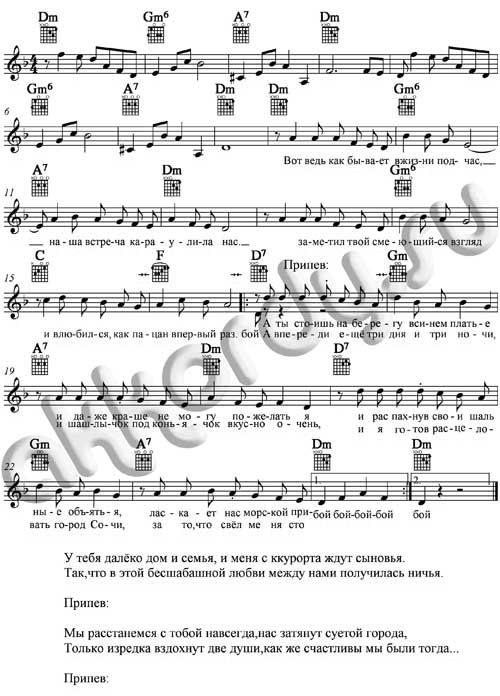 Ноты с аккордами к песне Город Сочи (Трофим)