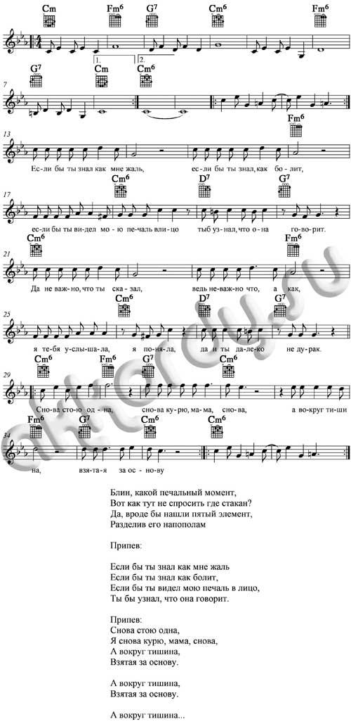Ноты с аккордами к песне «Курю» (Ваенга Елена)