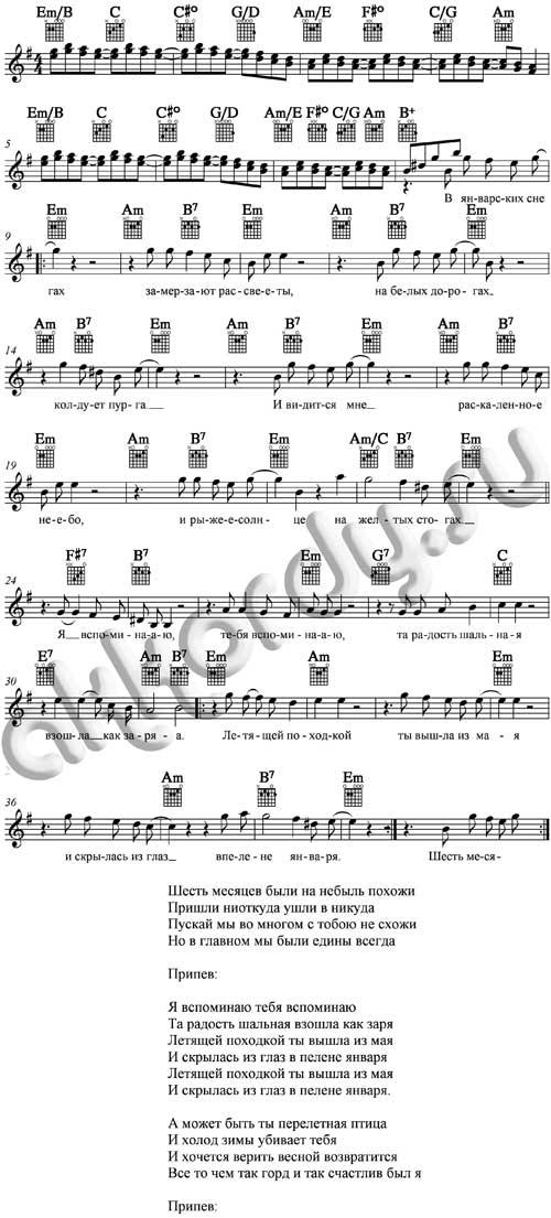 Ноты с аккордами к песне Летящей походкой - Я вспоминаю (Антонов Юрий)