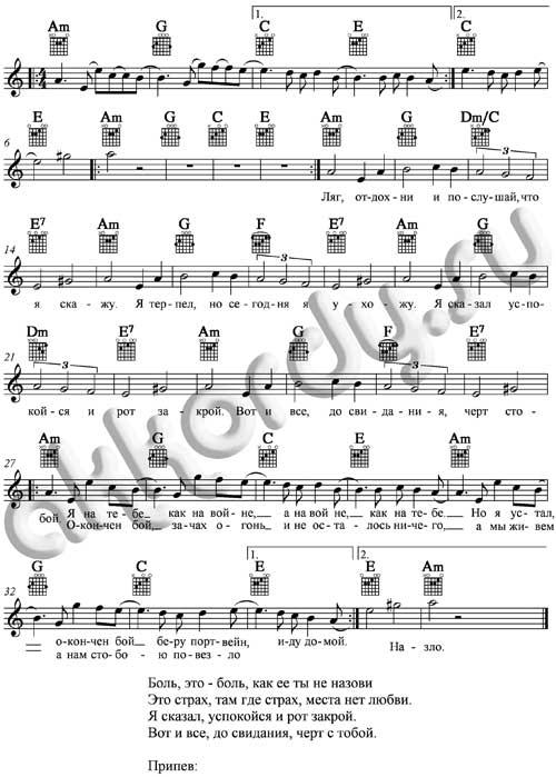 Ноты с аккордами к песне На войне как на войне (Агата Кристи)