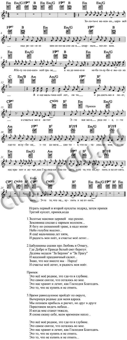 Ноты с аккордами к песне Родина (Трофим)