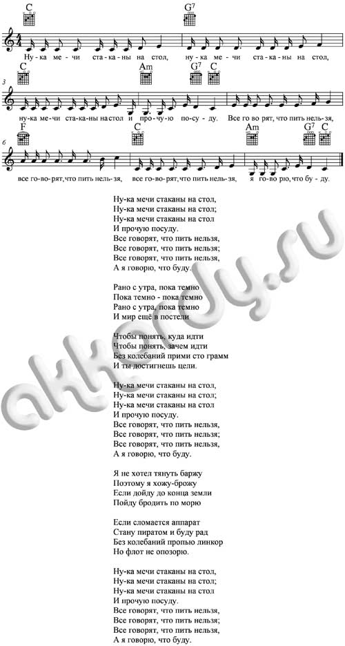 Ноты с аккордами к песне Стаканы (Гребенщиков - Аквариум)