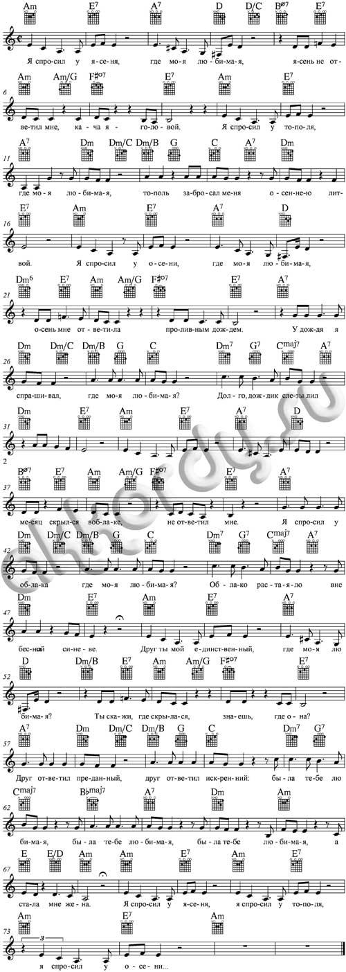 Ноты с аккордами к песне Я спросил у ясеня (из фильма Ирония судьбы)