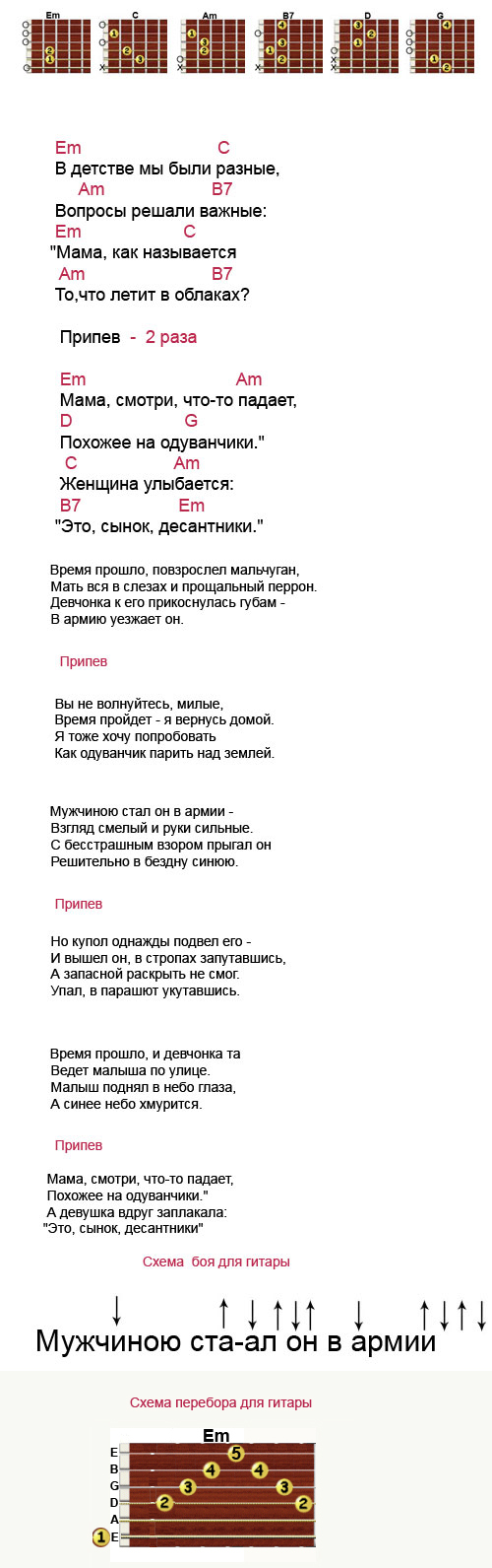 Аккорды к песне Одуванчики (Голубые береты)