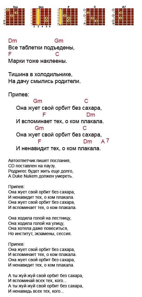 Аккорды к песне «Орбит без сахара» (Сплин)