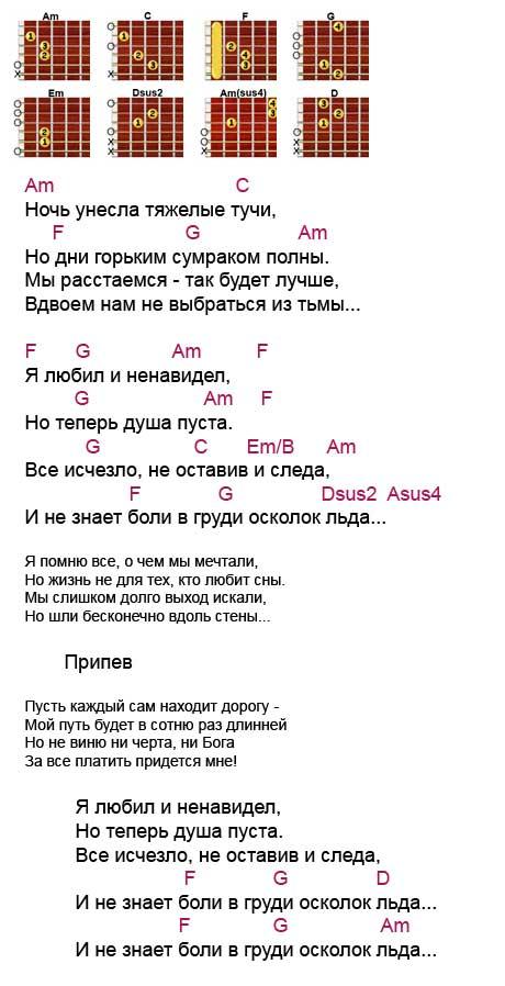 Аккорды к песне «Осколок льда» (Ария - Кипелов)