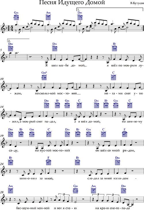 Ноты «Песня Идущего Домой»Бутусов аккорды