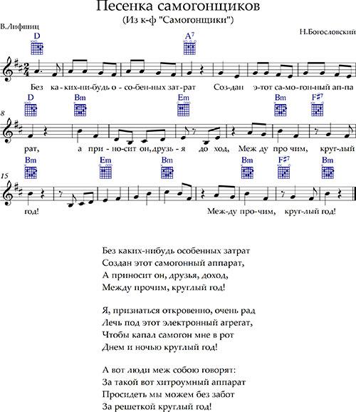 «Песенка самогонщиков» ноты,  аккорды