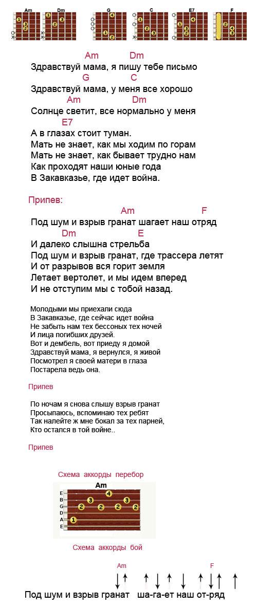 Аккорды к песне Под шум и взрыв гранат (армейские)