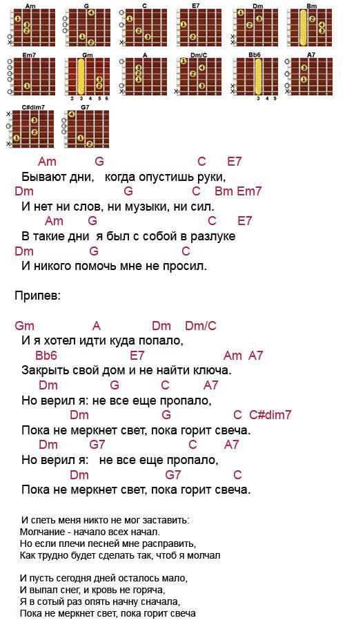 Аккорды песни Пока горит свеча (Машина времени - Макаревич)