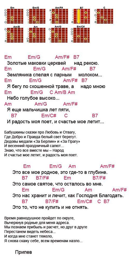 Аккорды песни Родина (Трофим)