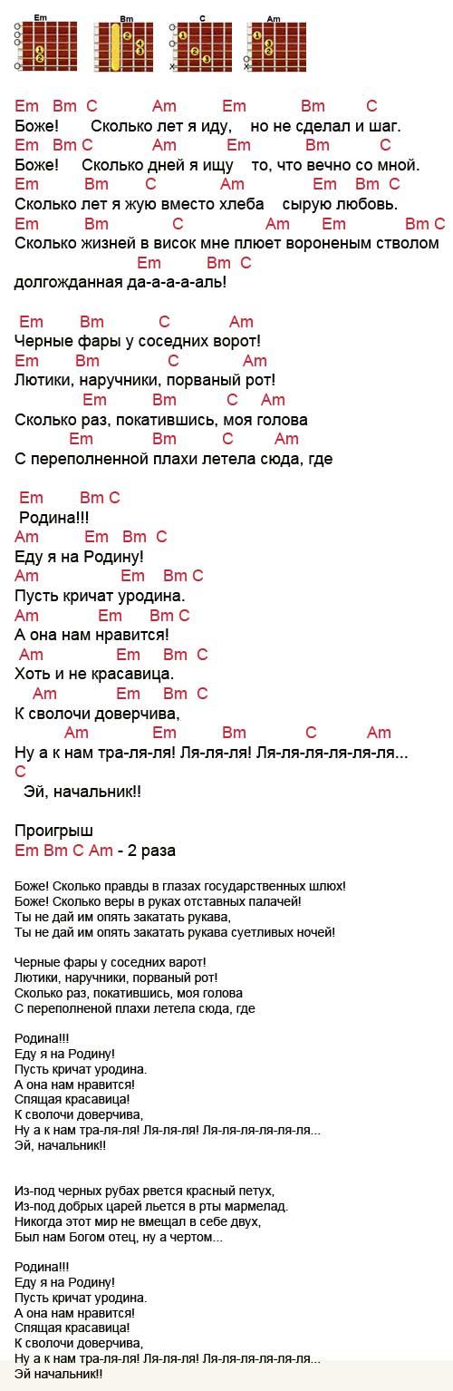 Аккорды песни Родина (ДДТ - Шевчук)