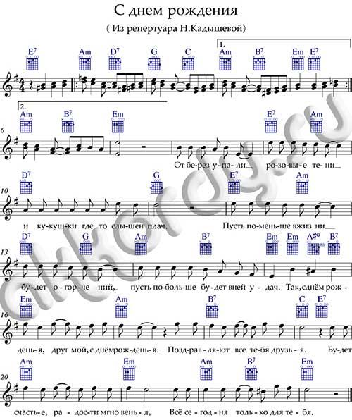 Ноты «С Днем рождения» аккорды Кадышева