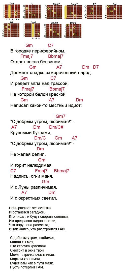 Аккорды к песне «С добрым утром любимая» (Митяев Олег)
