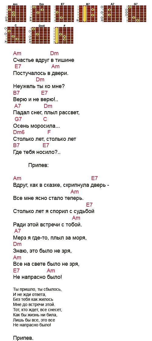 Аккорды песни Счастье вдруг (из фильма Иван Васильевич меняет профессию)