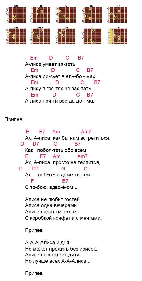 Аккорды к песне «Алиса» (Секрет)