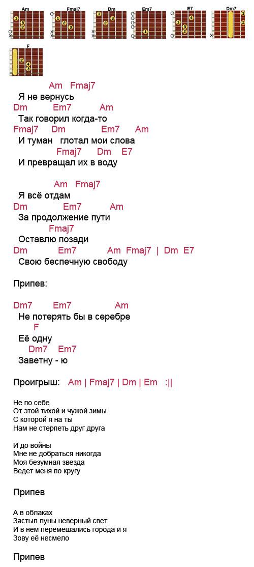 Аккорды песни Серебро (Би-2)