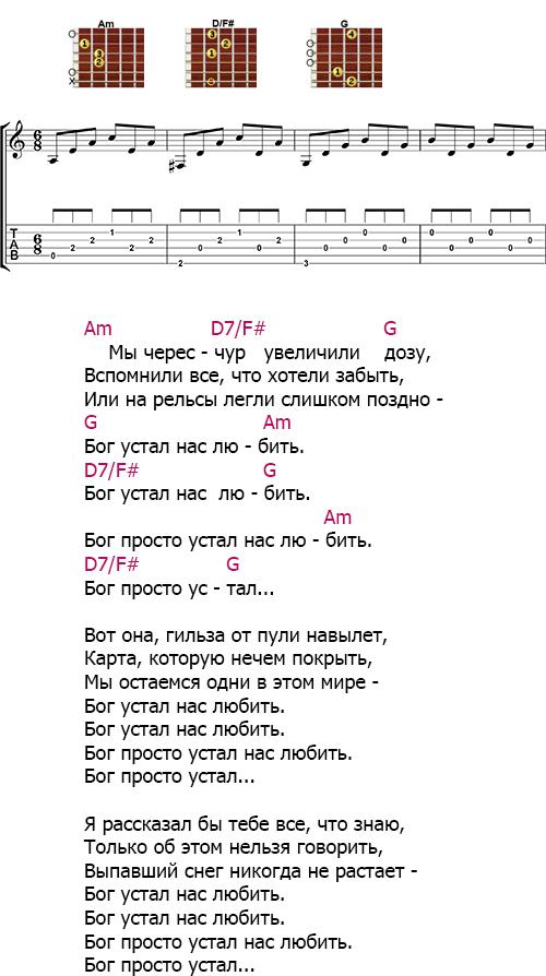 Аккорды «Бог устал нас любить» (Сплин)
