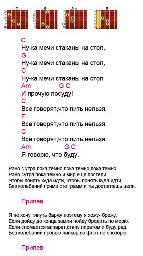 Аккорды к песне Стаканы (Гребенщиков - Аквариум)