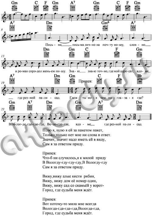 Ноты равным образом аккорды песни «Вологда» Песняры