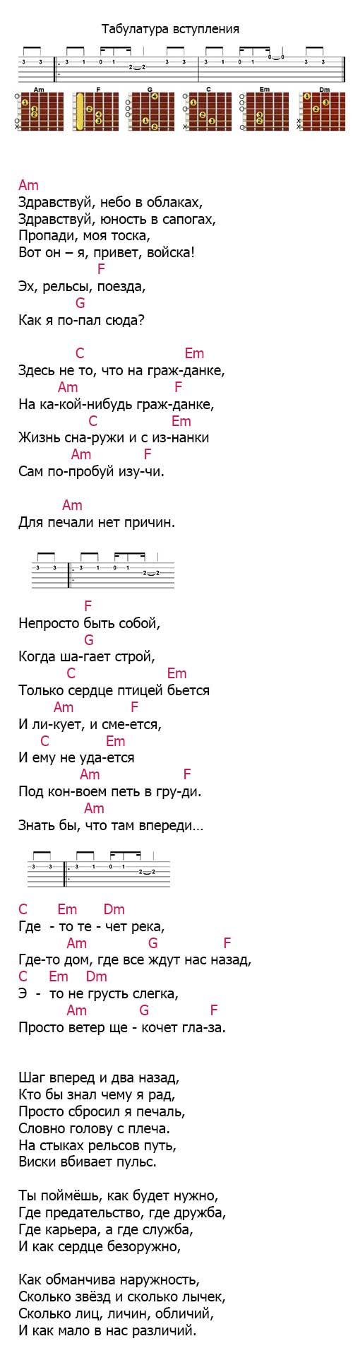 Аккорды песни «Юность в сапогах» из сериала Солдаты
